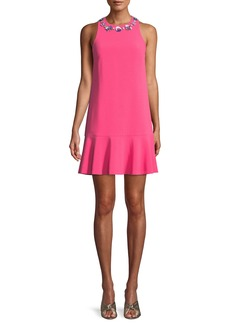 Trina Turk Fizz Mini Dress w/ Embellished Collar