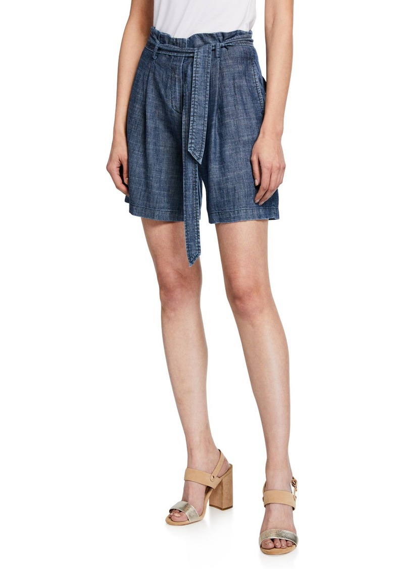 Trina Turk Fleet Crosshatch Chambray Shorts with Tie-Belt