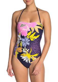 Trina Turk Floral Crisscross Strap One-Piece Swimsuit