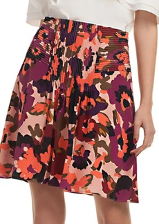 Trina Turk Floral Diamond Silk A-Line Skirt