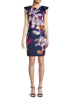 Trina Turk Floral Flutter-Sleeve Sheath Dress