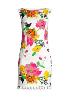 Trina Turk Floral Pom-Pom Fringe Shift Dress