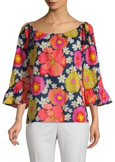 Trina Turk Floral-Print Boatneck Cotton Top