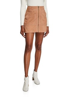 Trina Turk Front Zip Suede Mini Skirt