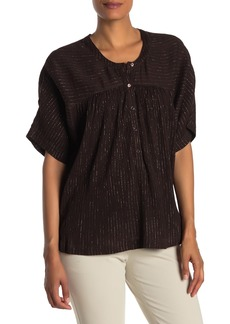 Trina Turk Fuentes Short Sleeve Metallic Accent Blouse
