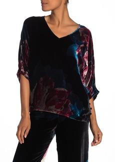 Trina Turk Garland Floral Velvet Batwing Sleeve Top