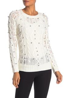 Trina Turk Gin N Tonic Rhinestone Embellished Knit Sweater