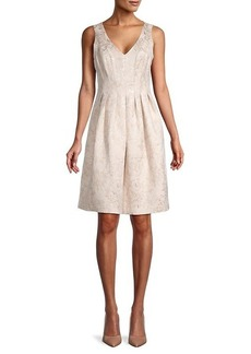 Trina Turk Green Valley Metallic Floral-Jacquard Dress