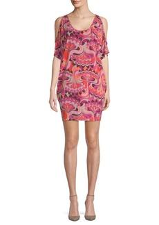 Trina Turk Guava Cold-Shoulder Mini Dress