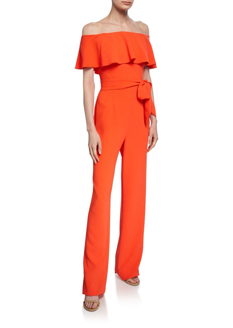 Trina Turk Guests Off-the-Shoulder Short-Sleeve Popover Jumpsuit