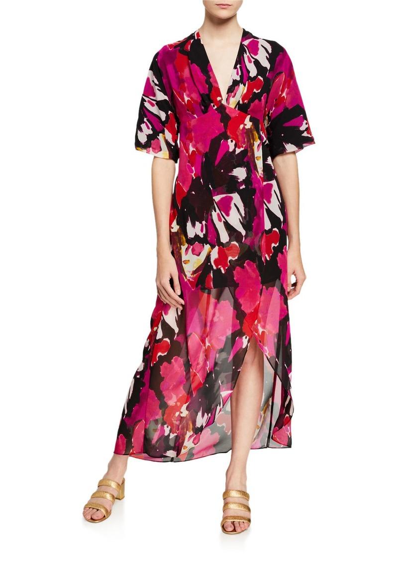 Trina Turk Hana Garden of Streams Printed Georgette High-Low Dress