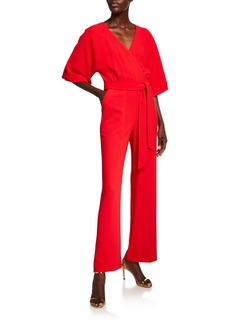 Trina Turk High Valley V-Neck 1/2-Sleeve Belted Jumpsuit