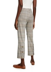 Trina Turk Highland Park Button-Back Pants in Plaid