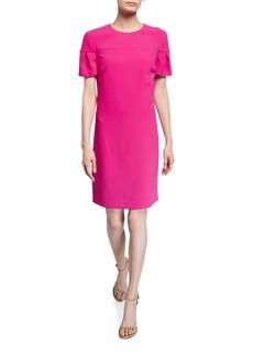 Trina Turk Jacinta Petal-Sleeve Crepe Shift Dress