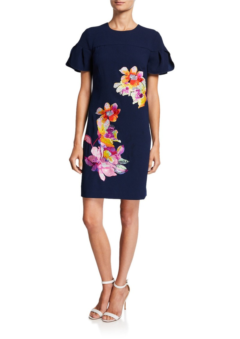 Trina Turk Jacinta Puff-Sleeve Sheath Dress w/ Floral Embroidery