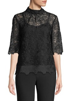 Trina Turk Janice 3/4-Sleeve Mock-Neck Lace-Illusion Top