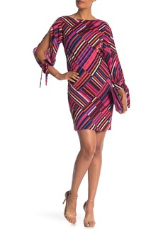 Trina Turk Jaxon Asymmetrical Stripe Split Sleeve Dress