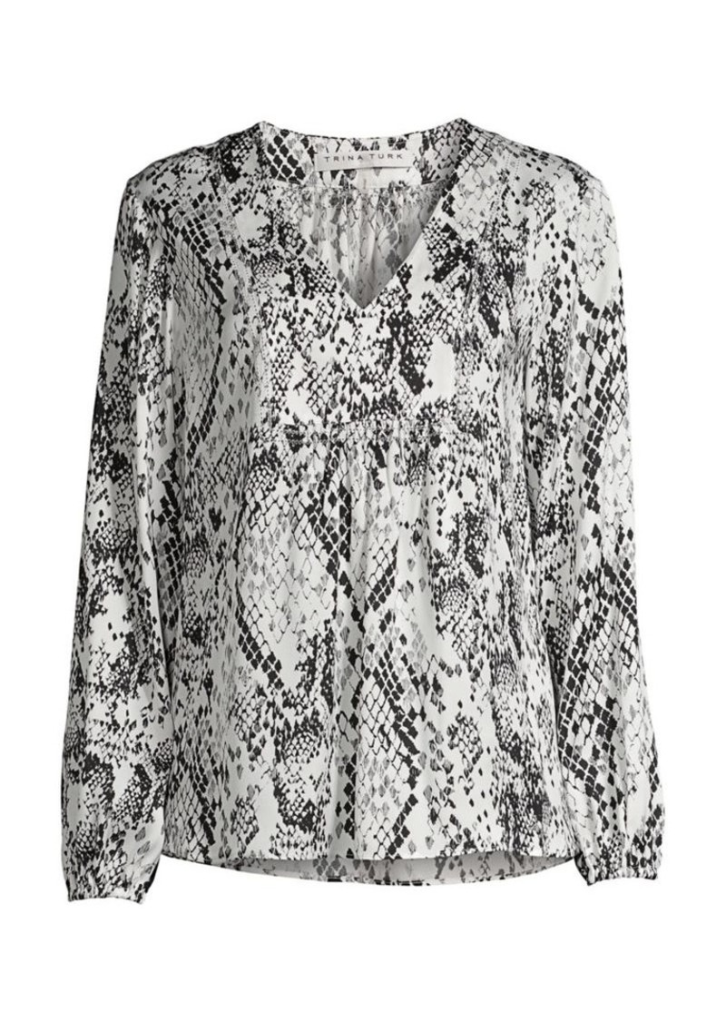 Trina Turk Jet Set Jungle Amador Snak-Print Peasant Top