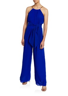 Trina Turk Jungle Belted Halter Jumpsuit with Golden Chain Straps