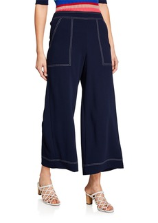 Trina Turk Just Arrived Mid-Rise Wide-Leg Carmel Crepe Pull-On Pants