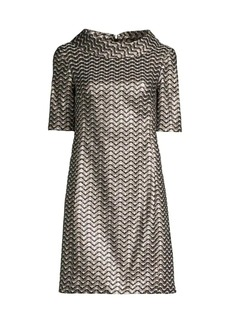 Trina Turk Kailee Chevron Metallic Shift Dress
