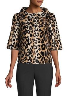 Trina Turk Kailee Leopard-Print Faux-Fur Top