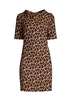 Trina Turk Kailee Leopard-Print Funnelneck Dress