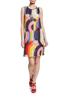 Trina Turk Kaleidoscope Sequin Sleeveless Sheath Dress