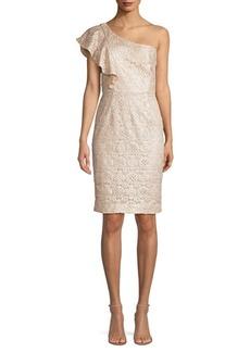 Trina Turk Launch One-Shoulder Lace Sheath Dress