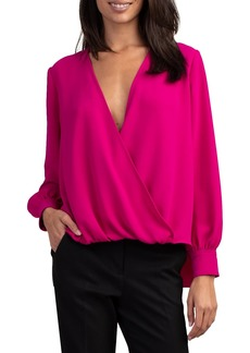 Trina Turk Laurynn Draped Surplice-Neck Blouse