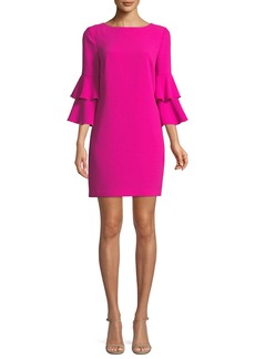 Trina Turk Leona Crepe Dress w/ Tiered Sleeves