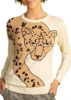Trina Turk Leopard Intarsia Merino Wool Sweater