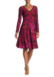 Trina Turk Linda V-neck Long Sleeve Printed Dress