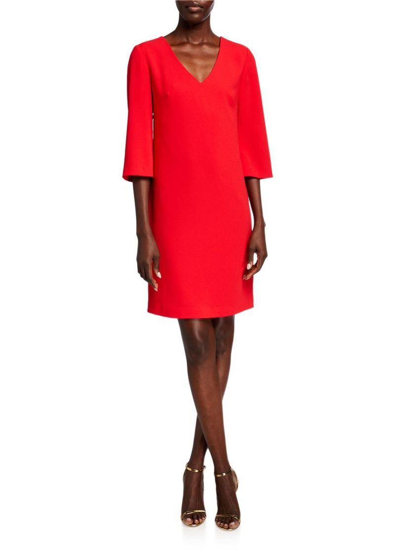 Trina Turk Malbec V-Neck 3/4-Sleeve Sheath Dress