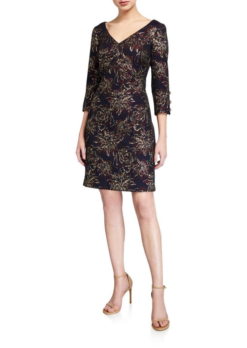 Trina Turk Metallic Brocade V-Neck 3/4-Sleeve Shift Dress