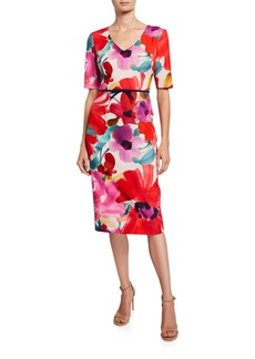 Trina Turk Mid Century Floral V-Neck Short-Sleeve Sheath Dress