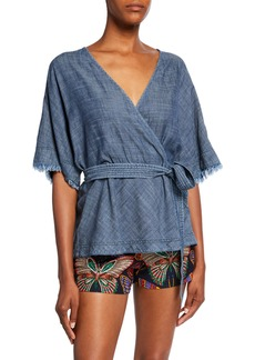 Trina Turk Milo Denim Wrap Top