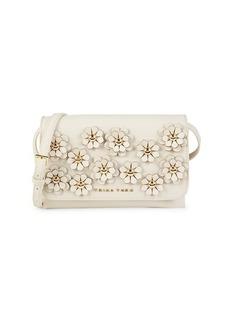 Trina Turk MIni Floral-Appliqué Faux Leather Crossbody Bag