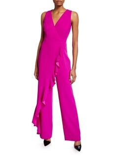 Trina Turk Minimalist Sleeveless Ruffle Overlay Jumpsuit