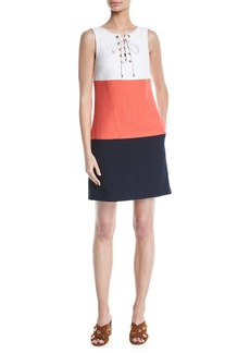 Trina Turk Miss Brady 2 Colorblock Lace-Up Dress