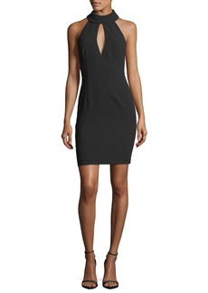 Trina Turk Mock-Neck Sleeveless Halter Crepe Dress w/ Keyhole