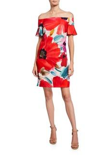 Trina Turk Modern Floral Off-the-Shoulder Dress