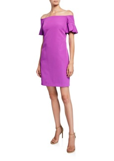 Trina Turk Modern Off-the-Shoulder Ruffle-Sleeve Sheath Dress