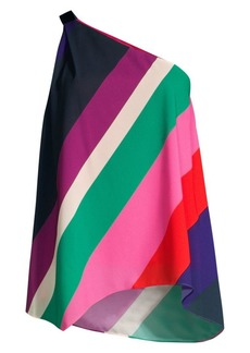 Trina Turk Modernism Lush Life Colorblock Chiffon One-Shoulder Top