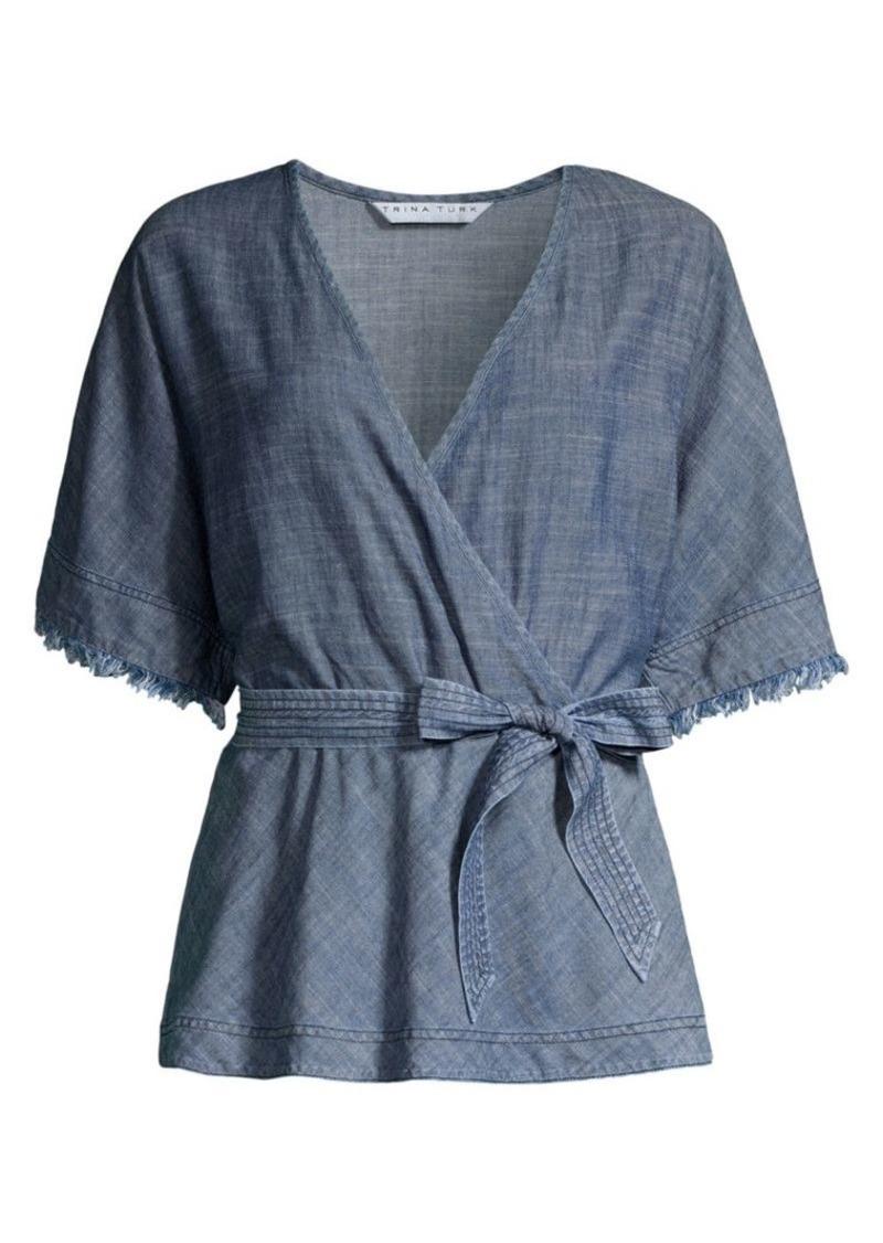 Trina Turk Modernism Milo Chambray Belted Kimono Top