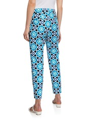 Trina Turk Moss 2 Tile-Print Cropped Pants  Turquoise
