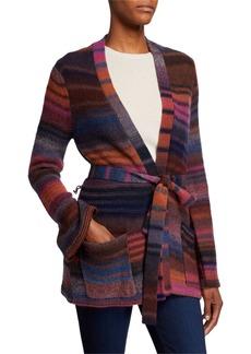 Trina Turk Multi Striped Belted Sweater Jacket