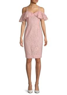Trina Turk Mysterious Cold-Shoulder Sheath Dress