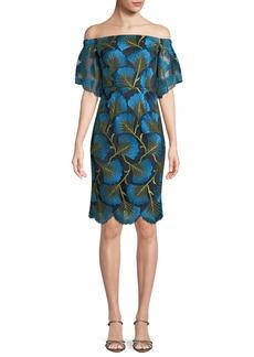 Trina Turk Naomi Off-the-Shoulder Dress w/ Fan Foliage