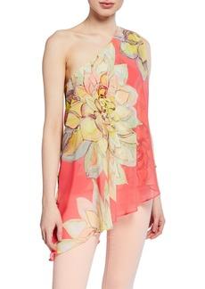 Trina Turk Nimah Floral-Print One-Shoulder Asymmetric Chiffon Top